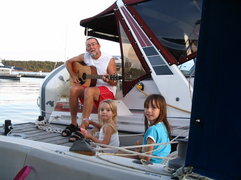 Mike and the girls at Big Sound Marine