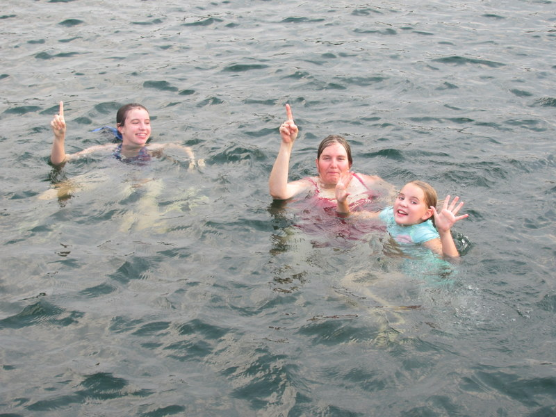 Kathy and the girls in swimming