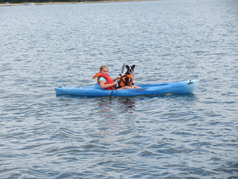 Emma and Finnegan in the kayak